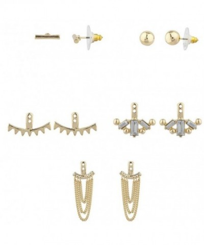 Lux Accessories Goldtone Jacket Earring