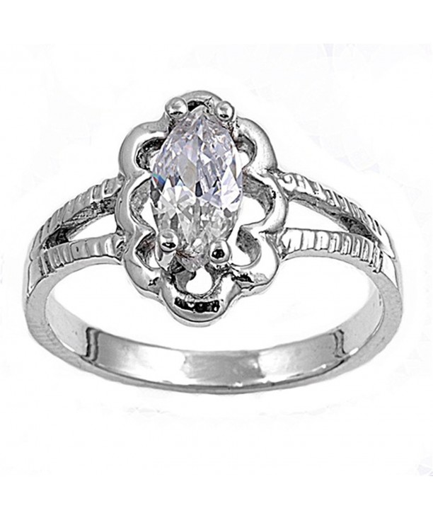 Classic Solitaire Cutout Sterling Silver