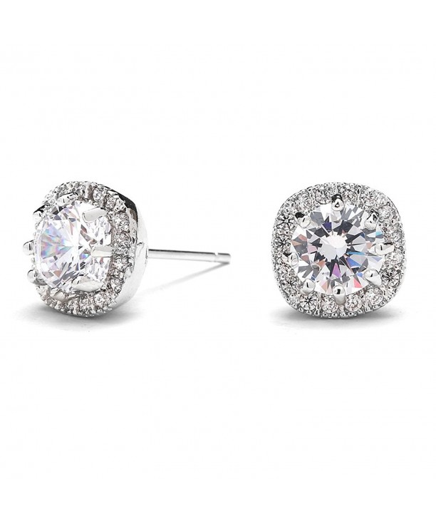 f159f3171 Cubic Zirconia Stud Earrings with 10mm Cushion Shaped Halos Round ...