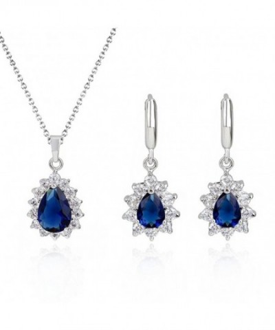 SELOVO Teardrop Earrings Jewellery Sapphire color