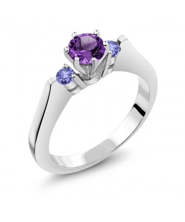 Purple Amethyst Tanzanite Sterling 3 Stone