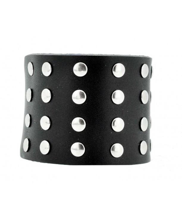 Black Studded Leather Bracelet Silver