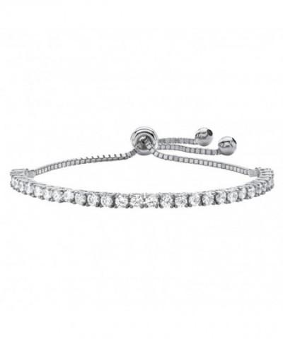 Zirconia Silvertone Adjustable Drawstring Bracelet