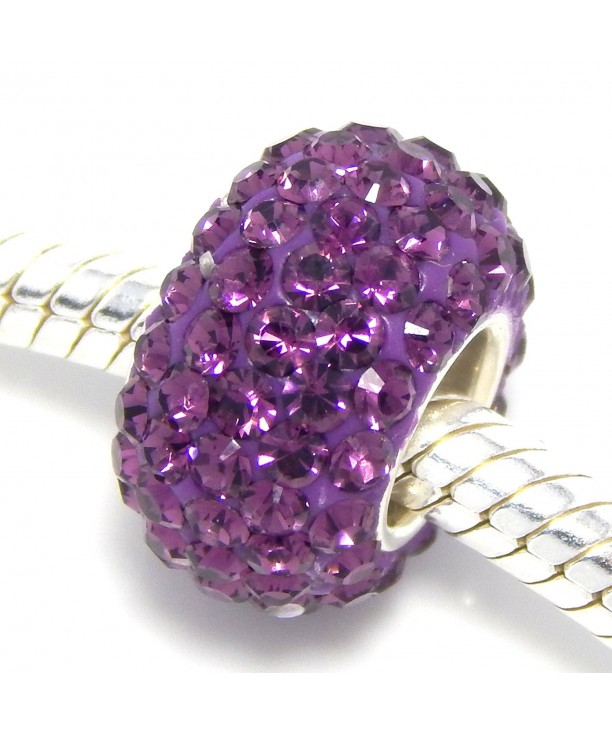 Sterling Silver Purple Crystals Charm