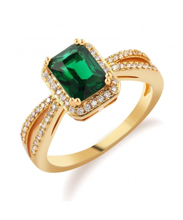GULICX Emerald Cut Green Stone Statement