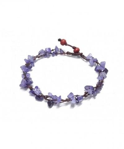 Purple Amethyst Color Bead Anklet