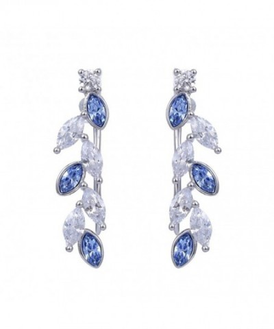 Earrings Climbers Crystals Swarovski Sapphire