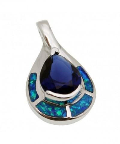 Teardrop Sterling Pendant Sapphire Jewelry