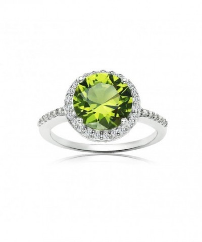 Sterling Silver Simulated Peridot Zirconia