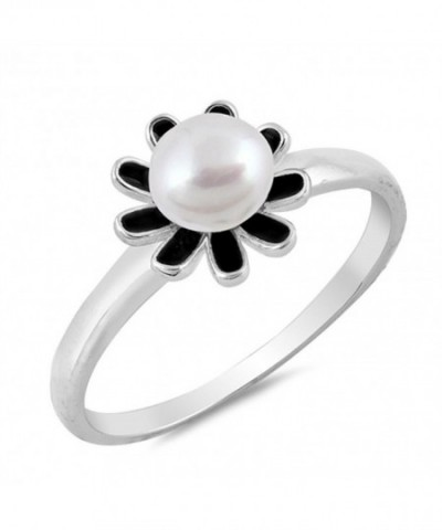 Simulated Pearl Flower Sterling Silver