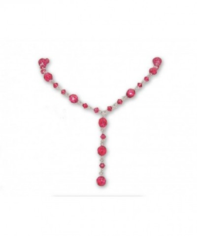 Raspberry Pink Crystal Necklace Silver
