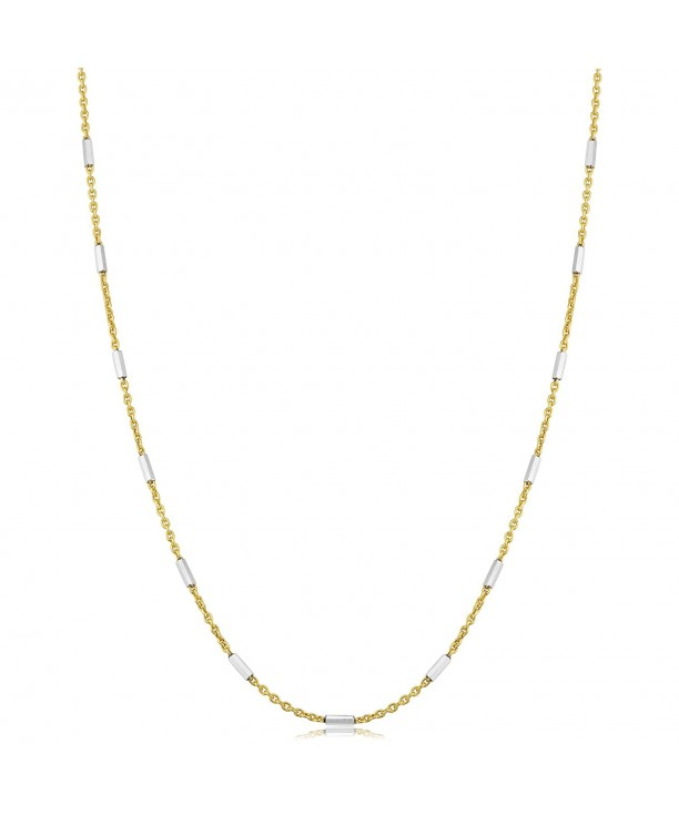 Two Tone Sterling Silver Station Necklace