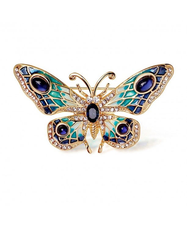 Plated Painted Crystal butterfly Brooch