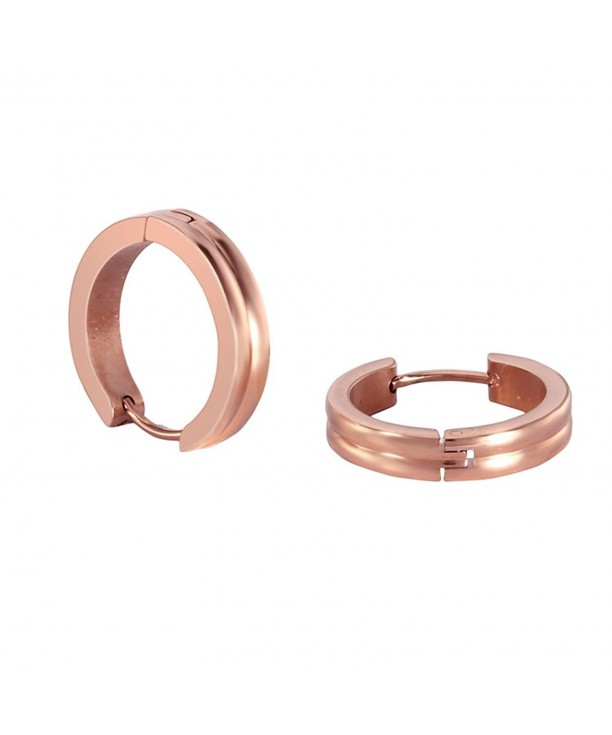 Stainless Steel Rose Gold Rounded Small Hoops Earrings For Womens Sensitive Ears Rose Gold Cx187r3lgr9