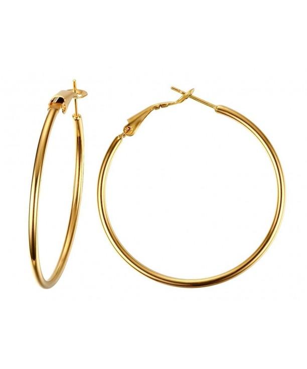Gold Tone Hoop Earrings Gold Plated Stainless Steel Circle Large Hoop Earrings for Women Girls