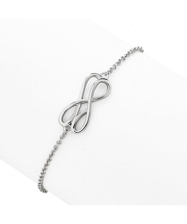 Rhodium Plated Sterling Sideways Infinity Bracelet