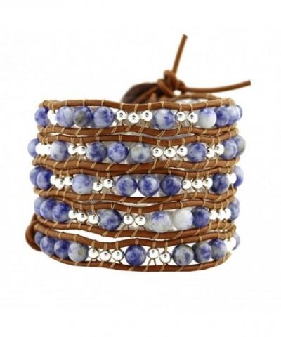 Simulated Gemstones Leather Bracelet Sodalite
