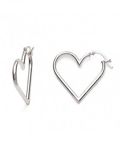 Sterling Silver Heart Tubular Earrings