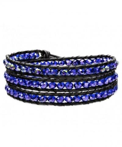 OKAJEWELRY Sapphire Crystal Leather Bracelet