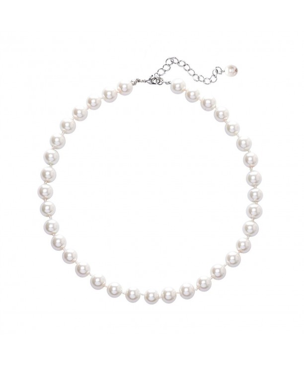 393090ccd4fad Synthetic Ivory White Pearl Choker Collar Necklace Gifts Jewelry for Women  White CT18872KG7Z