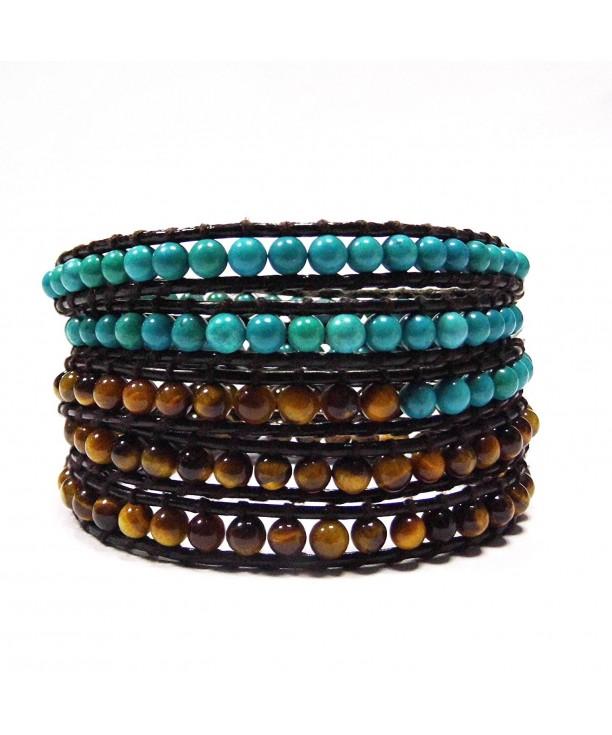 Bracelet Leather Adjustable Wrist Turquoise