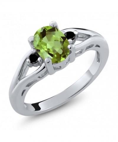 Peridot Diamond Sterling 3 Stone Engagement