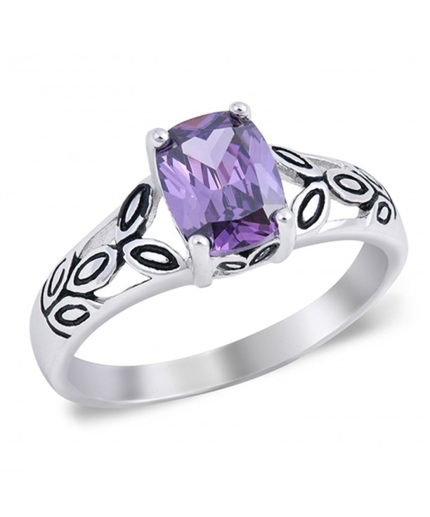 Simulated Amethyst Contrast Sterling Silver