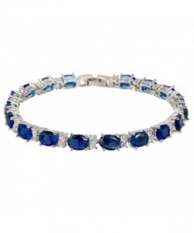 EVER FAITH Silver Tone Bracelet Sapphire