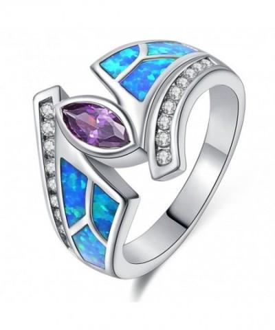 Purple Zirconia Rhodium Plated Flower Jewelry