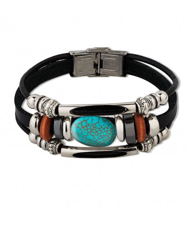 Stainless Blue green Reconstructed Turquoise Bracelet
