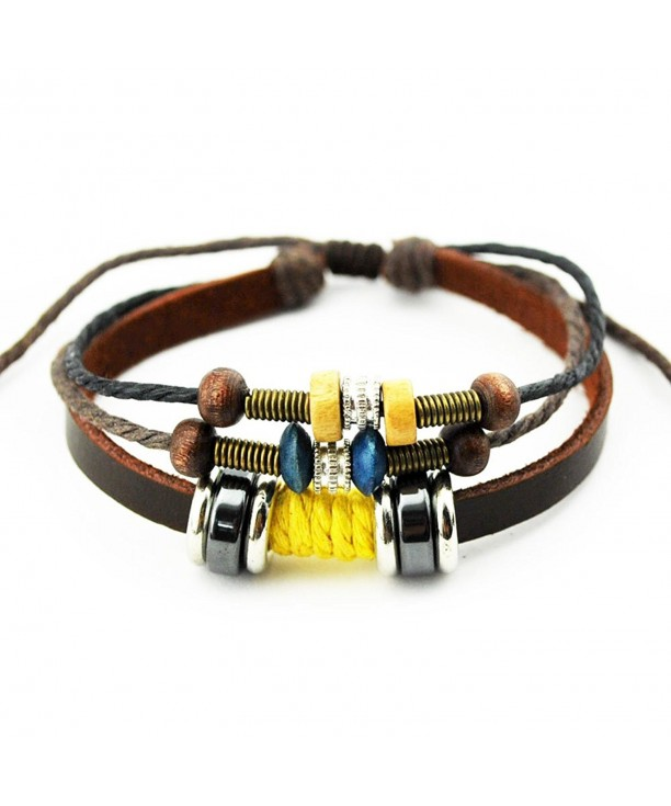 Unique Multistrand Leather Adjustable Bracelet
