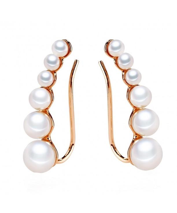 Ear Crawler Earrings Climbers Pearl Cuff Pin Vine Wrap Studs Jewelry For Women S Rose Gold C0189quwumc