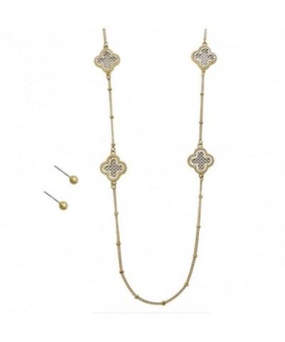 Rosemarie Collections Womens Quatrefoil Clover Metal Tassel Pendant Necklace