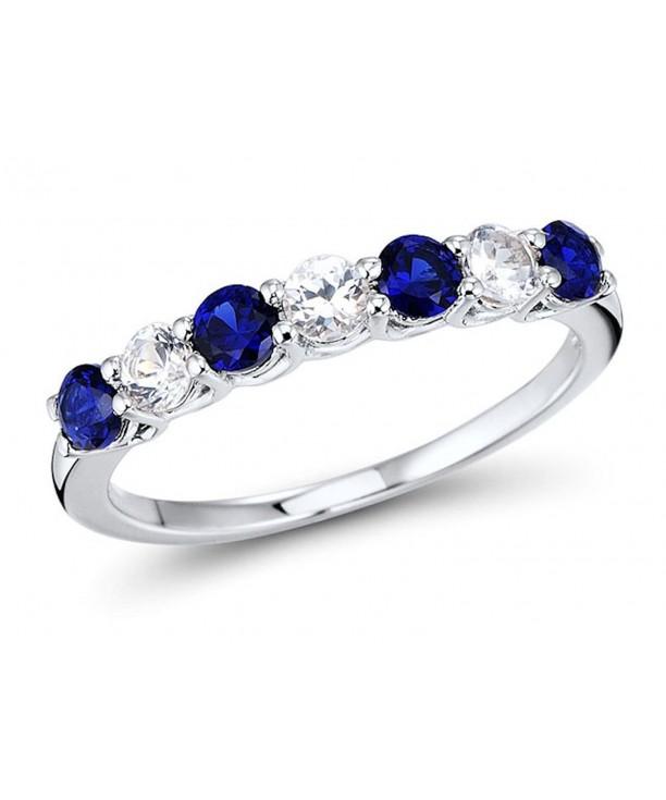 Created Sapphire 7 Stone Rhodium Sterling
