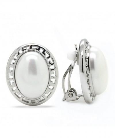 Simulated Earrings Rhodium Plated Fashion