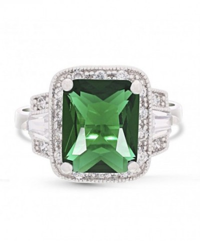 JanKuo Jewelry Rhodium Rectangular Emerald