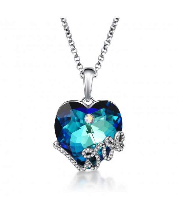 2b341a95923 Blue Swarovski Crystal Love Heart Pendant Necklace Jewelry Gift for ...