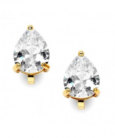 Mariell Earrings Pear Shaped Zirconia Solitaire