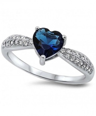 Simulated Sapphire Zirconia Sterling Silver