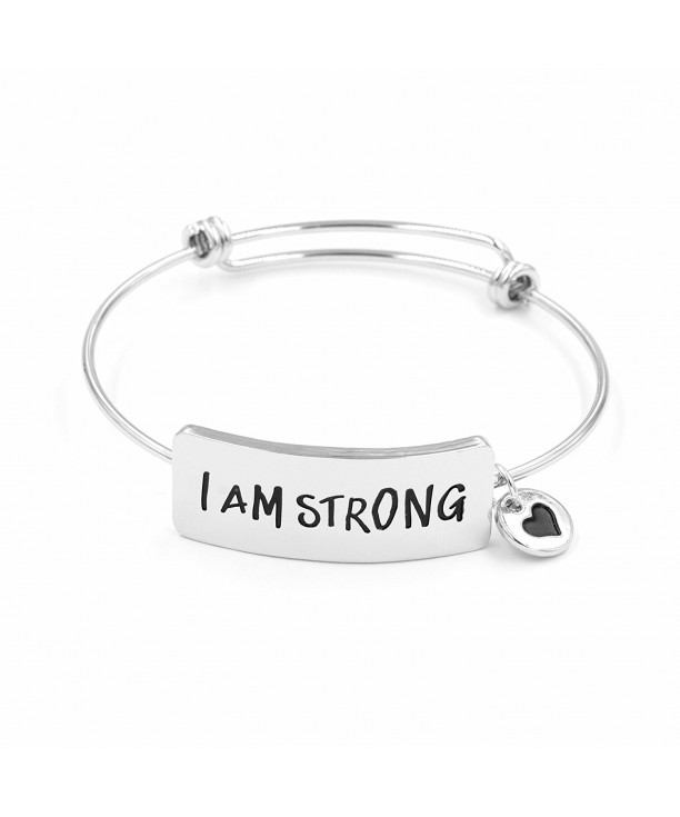 Personalized Bracelets For Women I Am Strong Inspirational Christian Quotes Expandable Wire Jewellery Silver Ch187iwlmk4