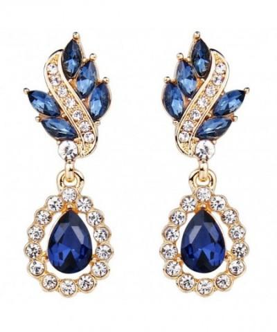 EleQueen Austrian Earrings Gold tone Sapphire