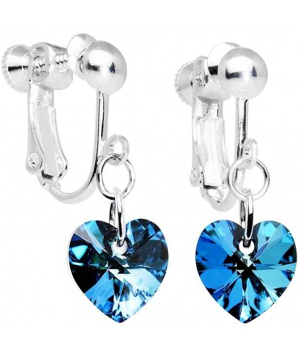 Handcrafted Heart Clip Earrings Created With Swarovski Crystals C91141zxqml