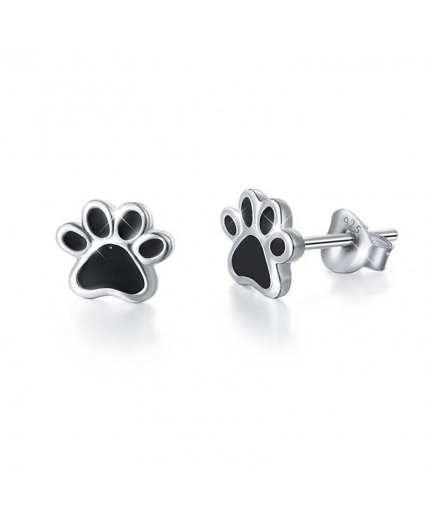 S925 Sterling Silver Puppy Dog Cat Pet Paw Print Stud Earrings C91845yu5u5