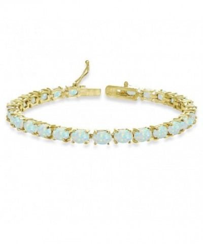 Flashed Sterling Simulated Oval cut Bracelet