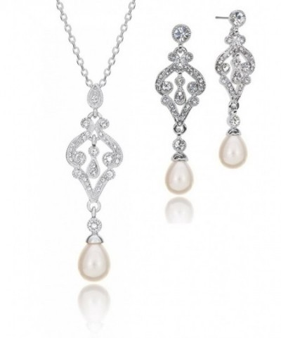 Teardrop Simulated Necklace Earring Rhodium