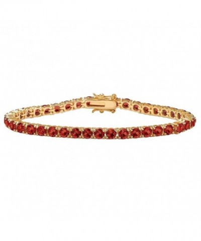 Simulated Birthstone Gold Plated Tennis Bracelet