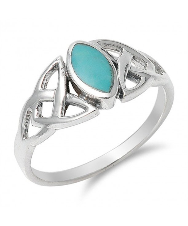 Simulated Turquoise Marquise Sterling Silver