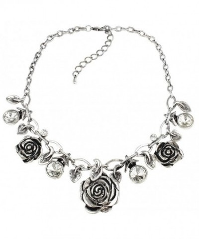 Silver Tone Rose Statement Necklace