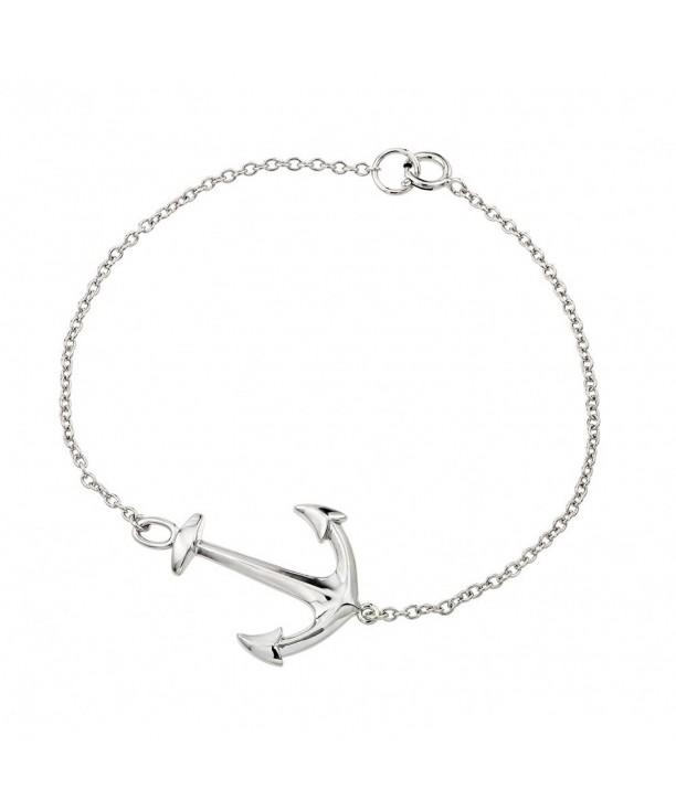 Rhodium Plated Sterling Sideways Bracelet