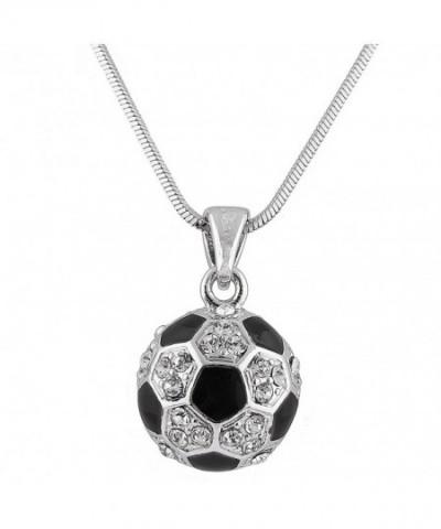 Silvertone Soccer Pendant Necklace B 356